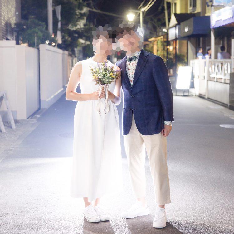 結婚式二次会はリンクコーデを意識しました!(お見送り前のツーショット)